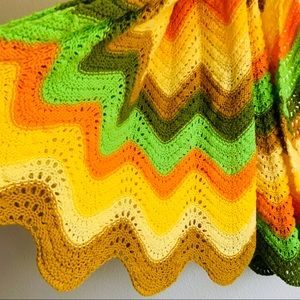 Vintage Crochet Knit Blanket Throw